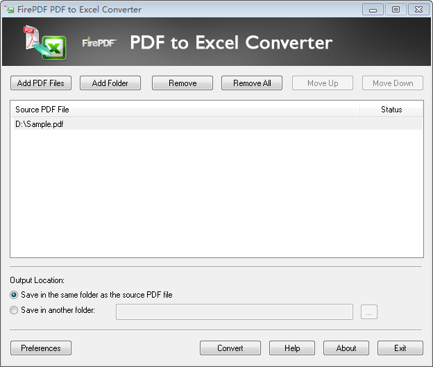 Convert PDF to Excel files.