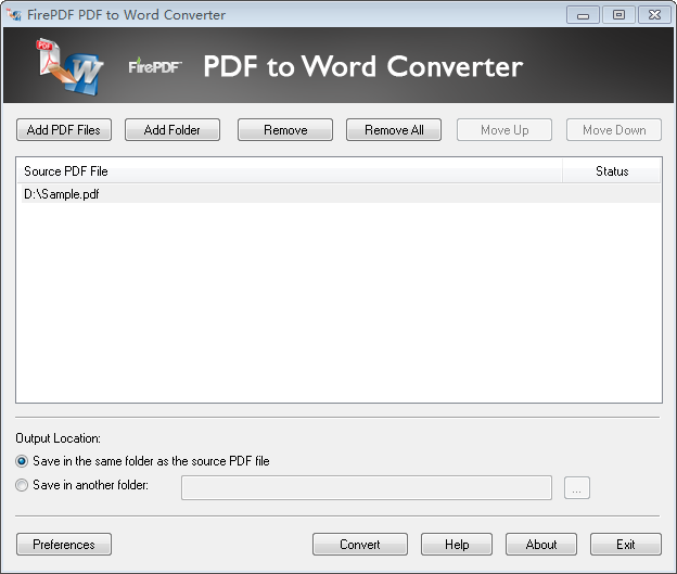 Click to view FirePDF PDF to Word Converter screenshots